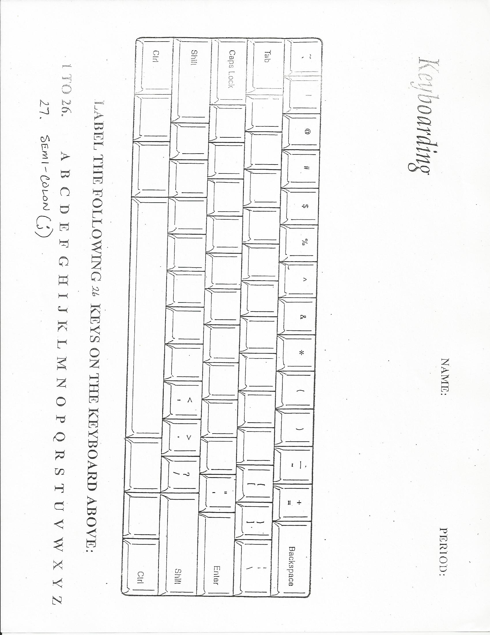 Worksheets Blank Computer Keyboard Worksheet computer literacy assignments mr yorks web page download file